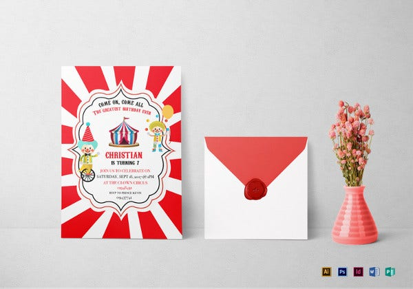 circus box birthday invitation indesign template