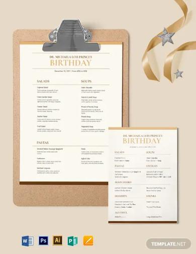 classy classic birthday menu template