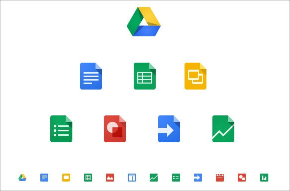 colourful google drive icons