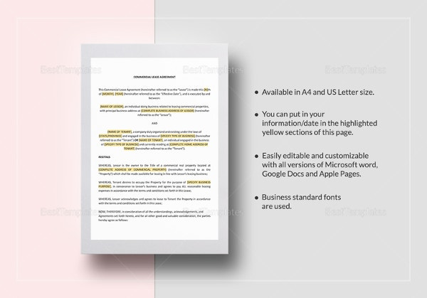 Commercial Lease Agreement Template In Google Docs  Editable Lease Agreement Template