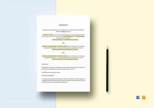 commission list template