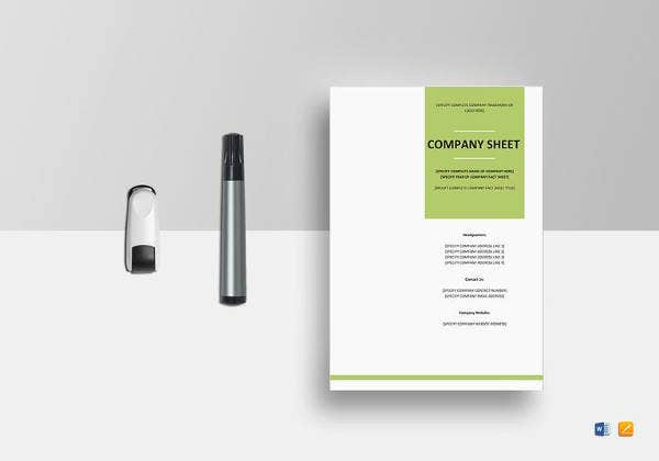 company fact sheet template to edit