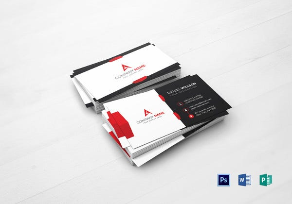 corporate business card ms word template