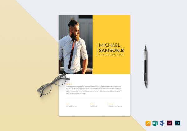 creative android developer resume template