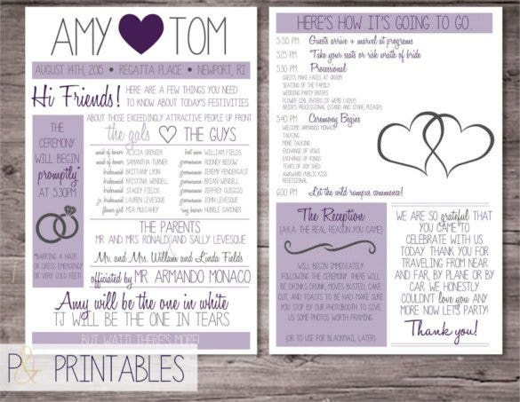 Customized Funny 6x9 Wedding Program Template