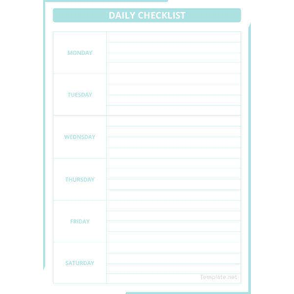 daily checklist template2