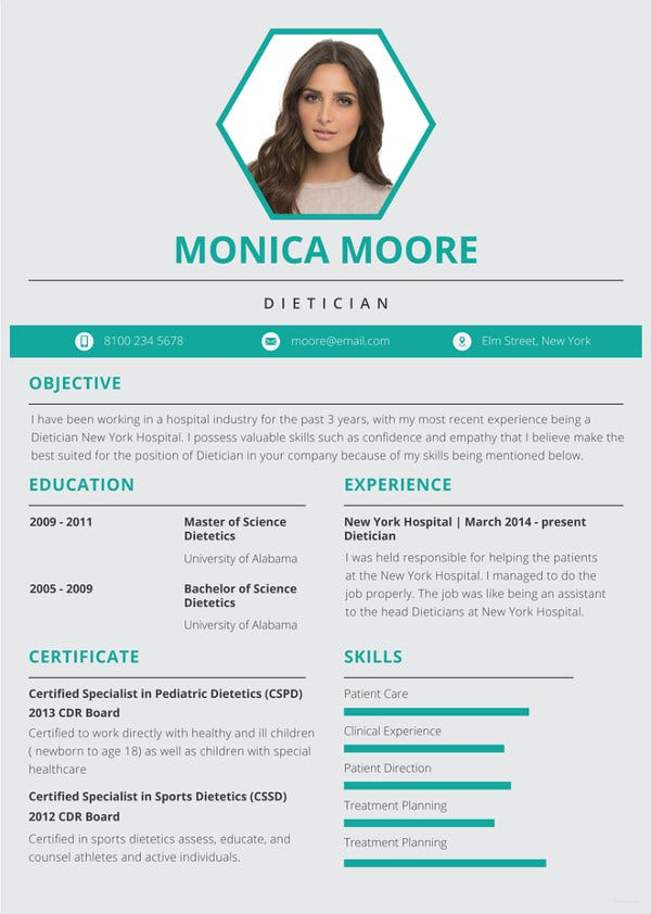 dietician resume template1