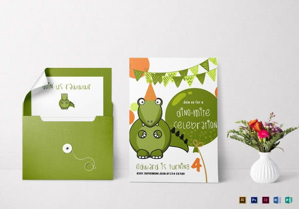 dinosaur birthday party invitation illustrator template