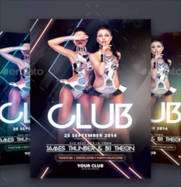 download party on club flyer template psd format