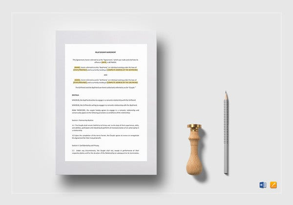 easy to edit relationship agreement template