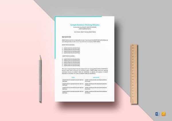 easy to print business meeting minutes template