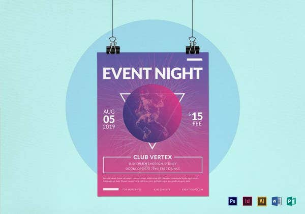 editable event night flyer template