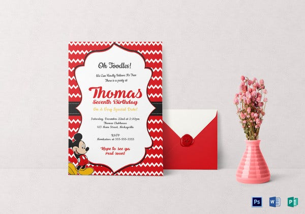 Editable Mickey Mouse Birthday Invitation Card Template  Birthday Invitation Card Template Free Download