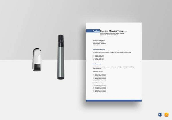 editable project meeting minutes template
