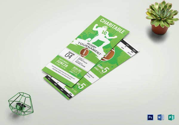 editable rugby tournament ticket