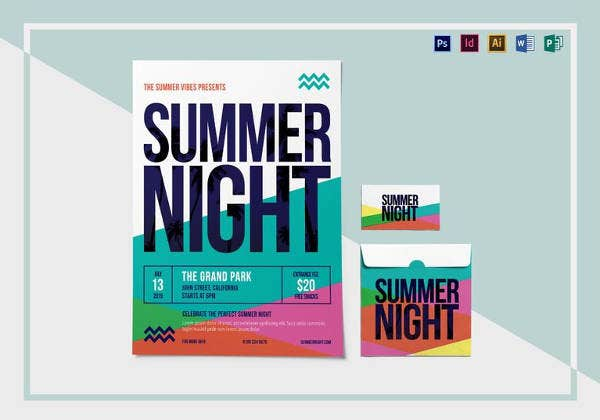 editable summer night flyer template