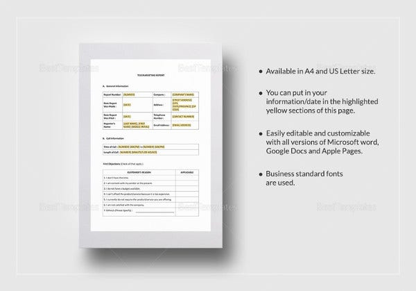 editable telemarketing report template