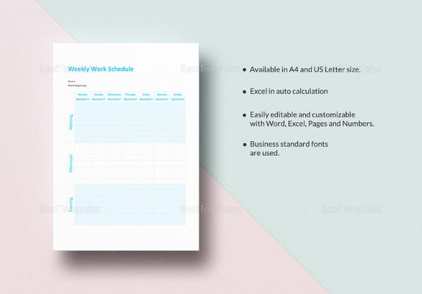 editable weekly work schedule template