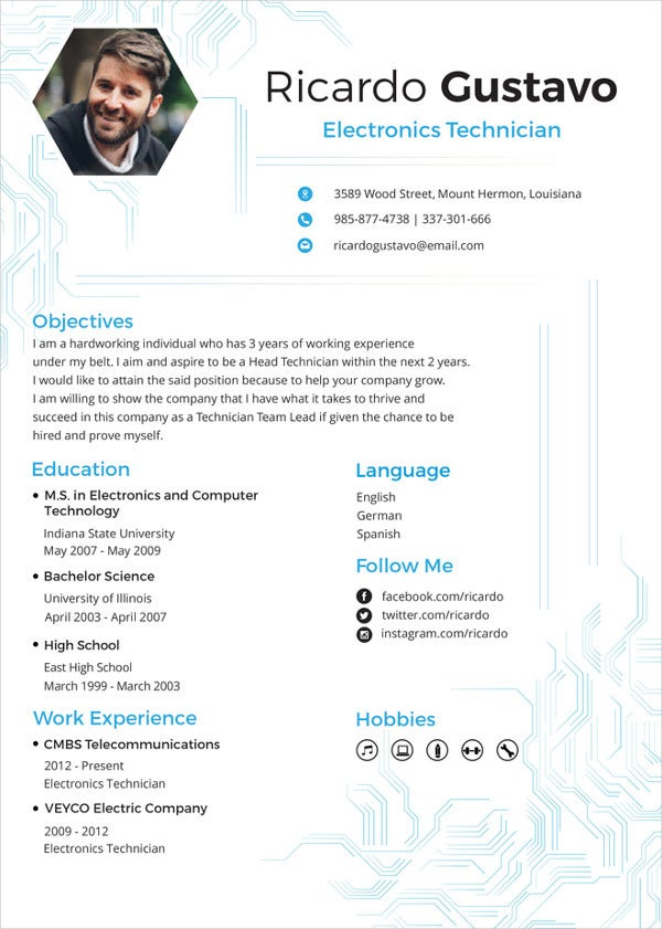 electronic technician resume template ms word