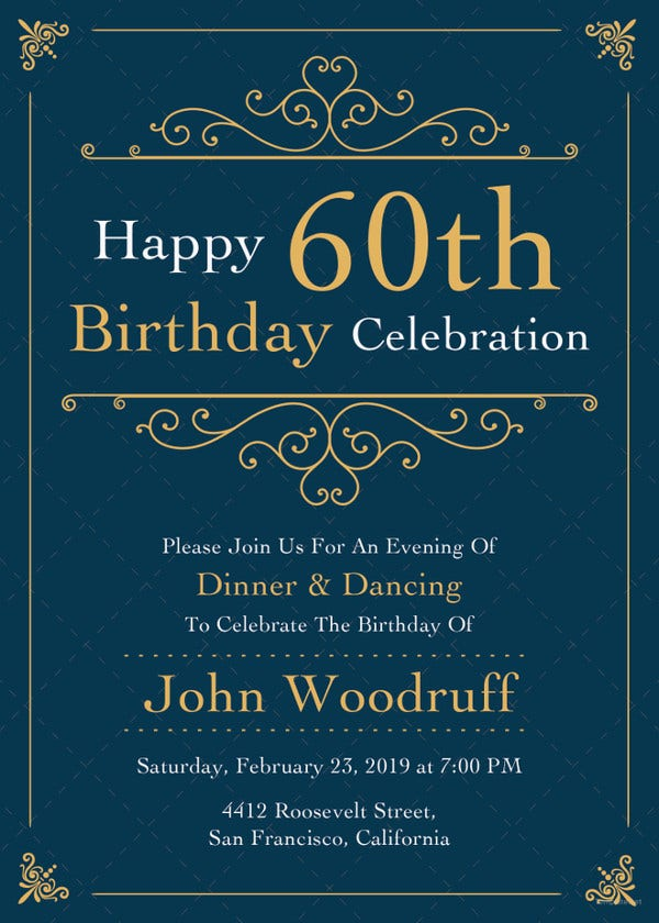 22 60th birthday invitation templates free sample example elegant 60th birthday invitation template filmwisefo Choice Image