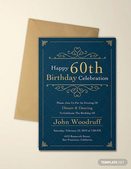 elegant 60th birthday invitation template1
