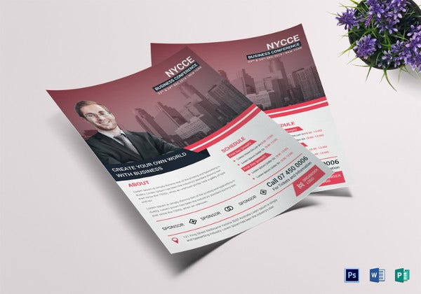 elegant business conference flyer template in word