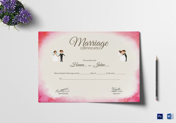 elegant marriage certificate photoshop template