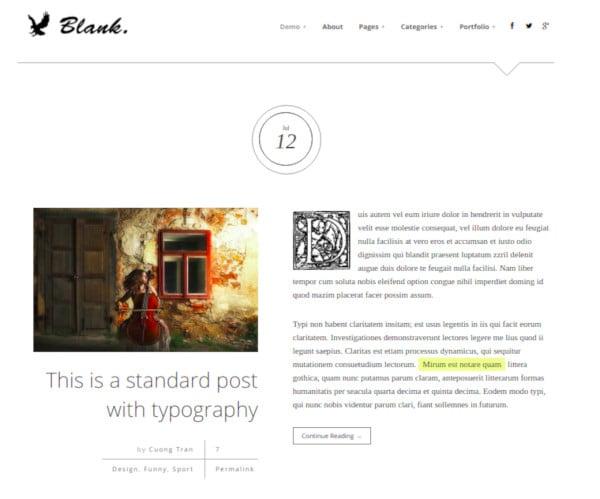 elegant minimalist blog wordpress theme