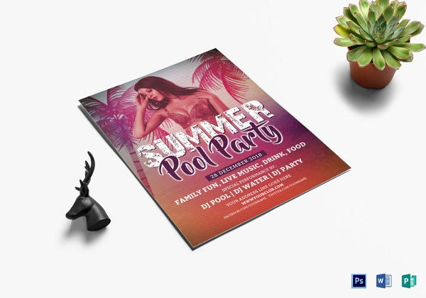 elegant summer pool party flyer template