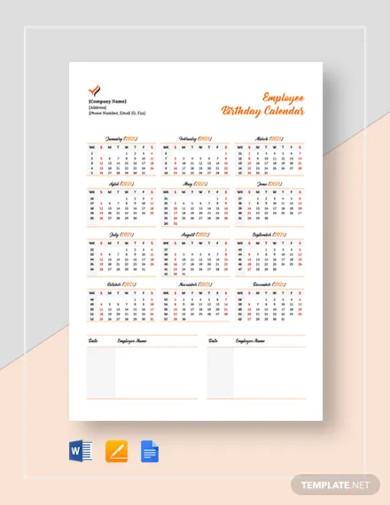 employee birthday calendar template