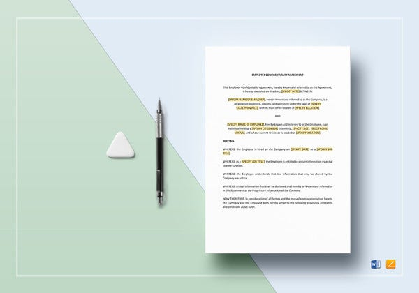 employee confidentiality agreement word template