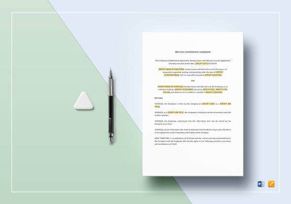 employee confidentiality agreement to edit