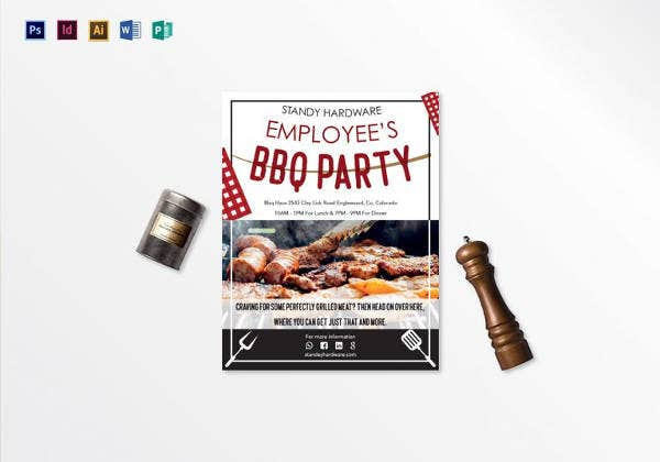 employees barbeque party flyer