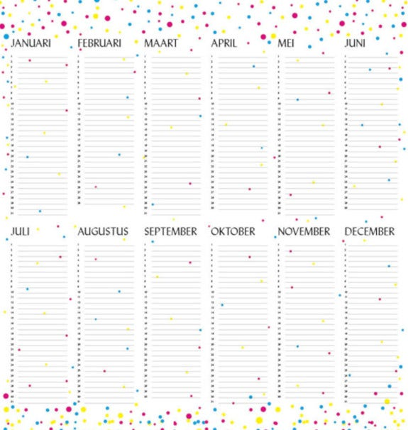 family and friends birthday calendar template