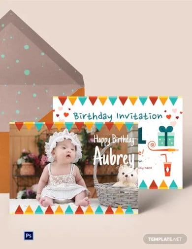 first birthday invitation card template