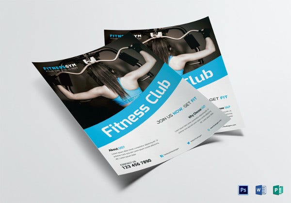 fitness club flyer template in word