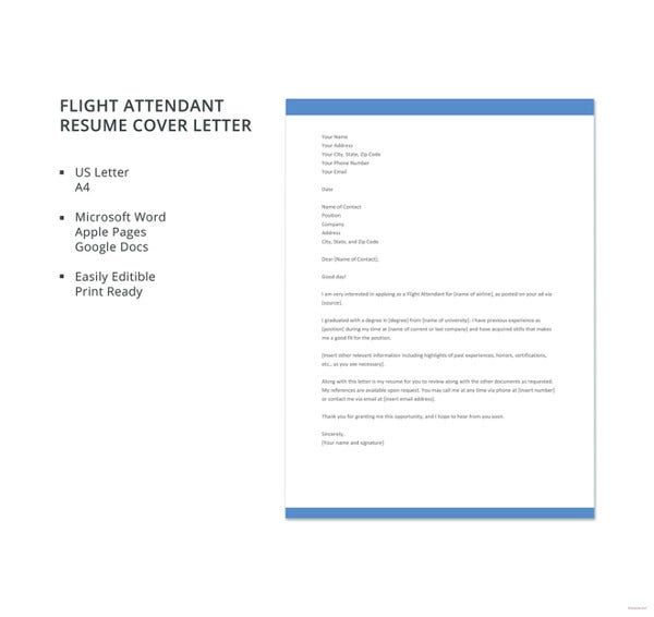flight attendant resume cover letter template