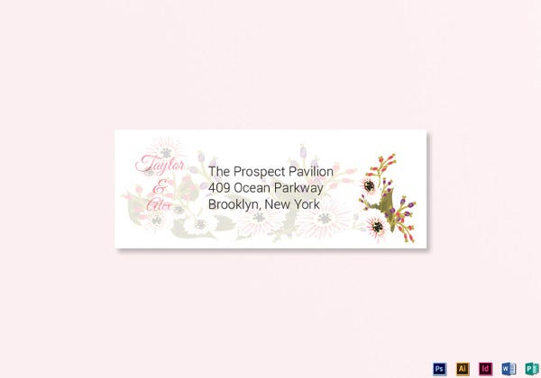 floral wedding address labels card word template