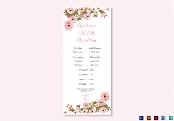 floral wedding program card illustrator template