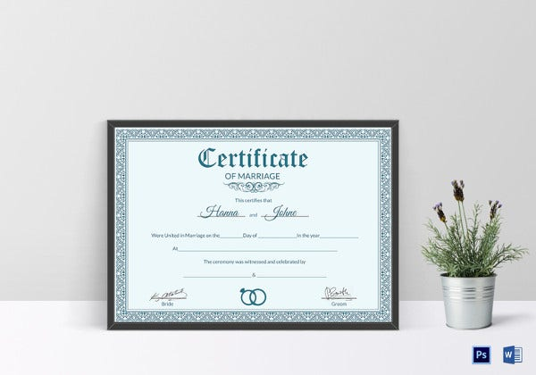formal marriage certificate ms word