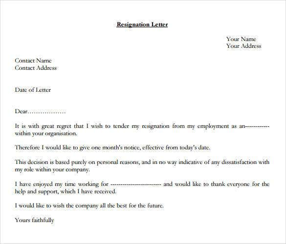 formal resignation letter 1 month notice1