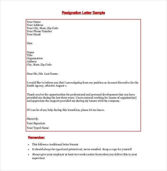 Formal Resignation Letter With 2 Weeks Notice  Resignation Letters
