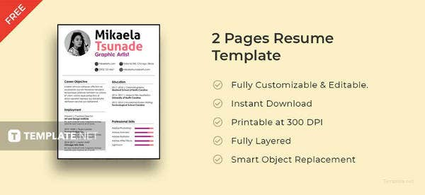 free 2 pages resume template - Pages Resume Templates