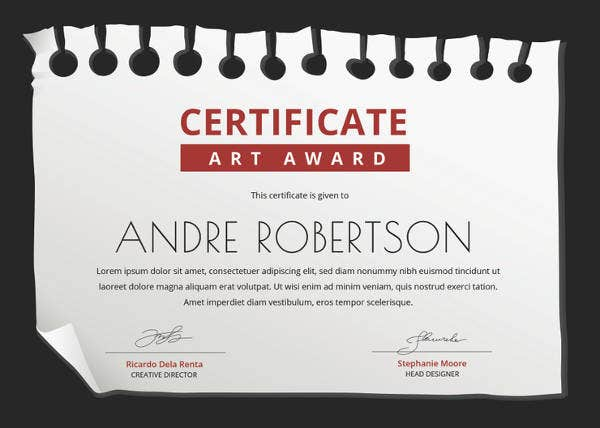 free art award certificate template