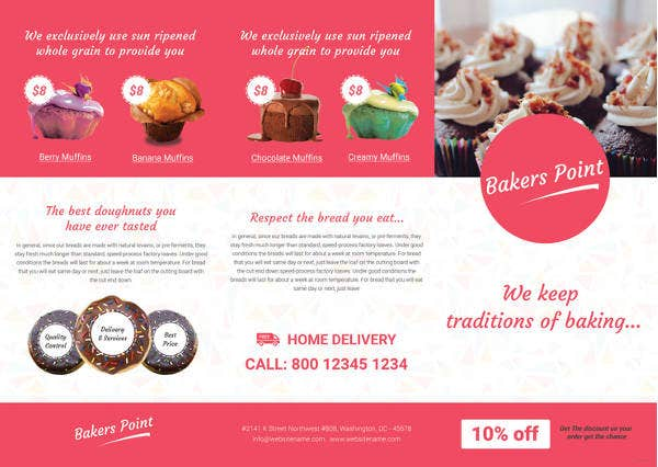 free bakery tri fold brochure template