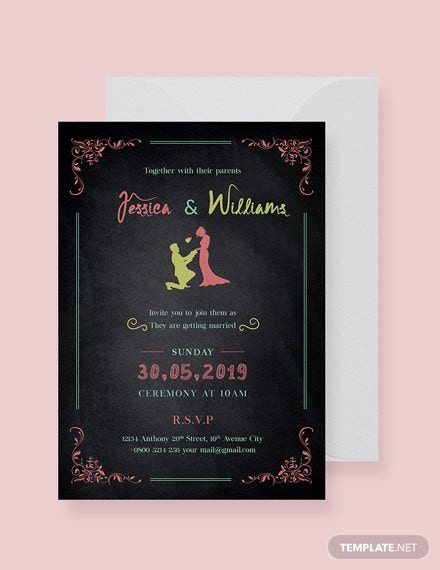 free chalkboard wedding invitation