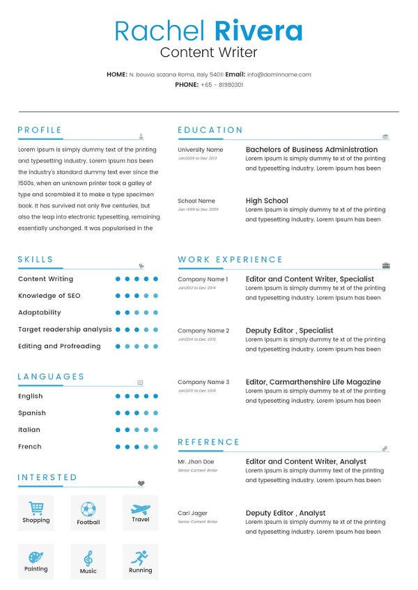 Content Writer Resume + Cover Letter Template | Free ...