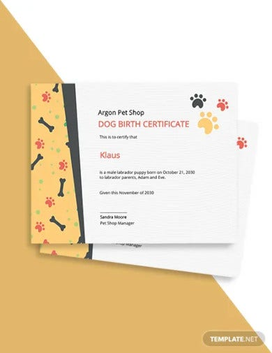 free dog birth certificate template