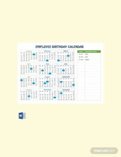 free employee birthday calendar template