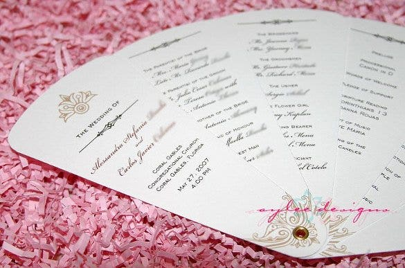 free fan wedding program template download1